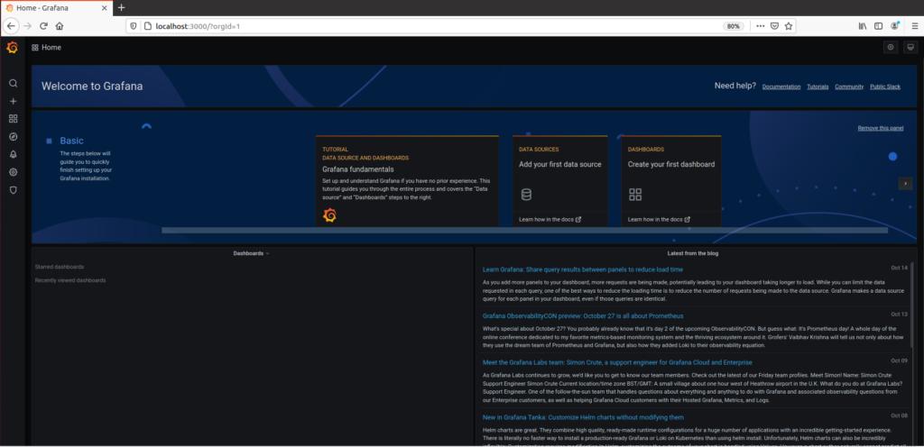 4. Launch Grafana v7 Web UI grafana-welcome-page