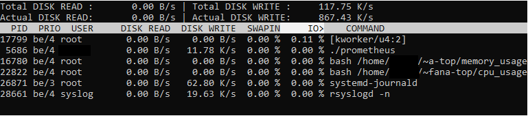 5 Interactive Shell Utilities for Disk I O iotop-example
