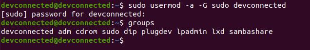 Adding an existing user to the sudo group usermod-sudo