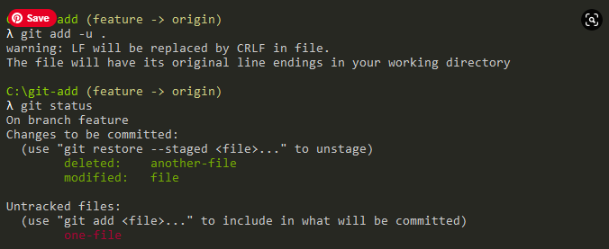 Adding deleted and modified files only git-status
