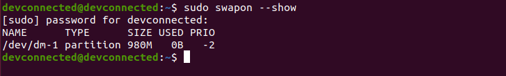 Check Existing Swap Partitions swapon-show
