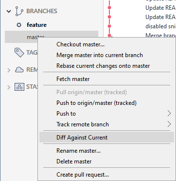 Compare two branches using Sourcetree diff-against