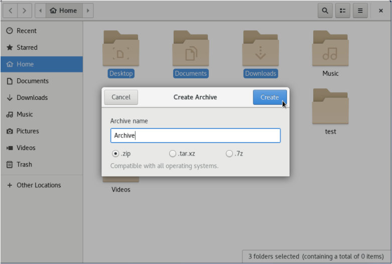 Compress Folders on GNOME archive