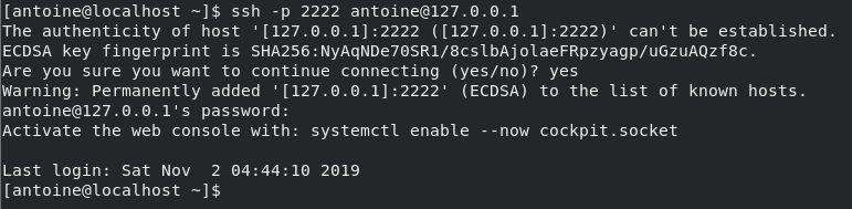 Connecting to your SSH server ssh-centos