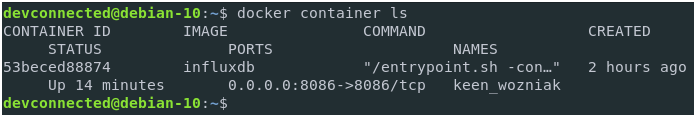 Create an administrator account with docker exec docker-container-ls