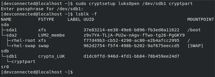 Create ext4 Filesystem on Partition cryptsetup-luksopen