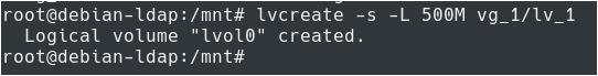Creating LVM Snapshots using lvcreate snapshot