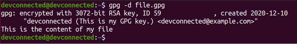 Decrypt File using key decrypt-file-gpg