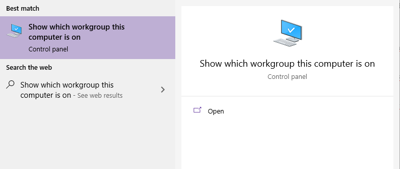 Defining the Windows workgroup