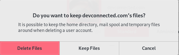 Deleting a user using the GNOME Desktop files