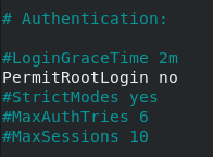 Disabling Root Login on your SSH server permitroot