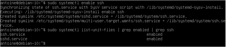 Enable SSH server on system boot service-enabled