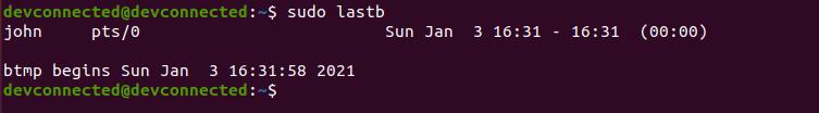 Find Last Bad Login Attempts using lastb-command-linux