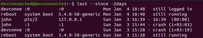 Find Last Login By Date last-since-two-days