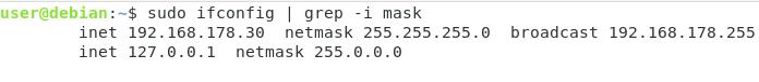 Find Subnet Mask using ifconfig mask