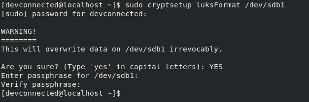 Format Disk Partition as LUKS cryptsetup-luksformat
