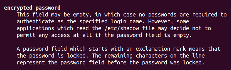 Inspecting the shadow file encrypted-password