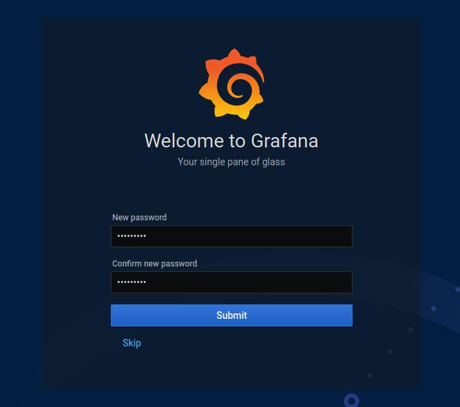 Launch Grafana v7 Web UI grafana-change-password