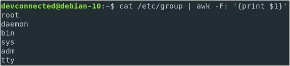 List Groupnames using the etc group cut-etc-group-awk