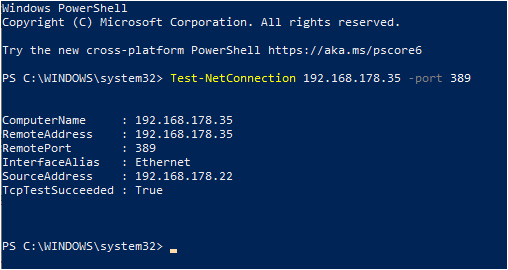 Ping Specific Port using Powershell