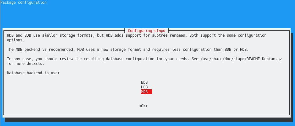 Reconfiguring slapd using dpkg-reconfigure mariadb
