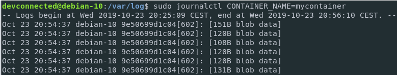 Redirecting container logs to journald blob
