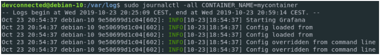 Redirecting container logs to journald grafana