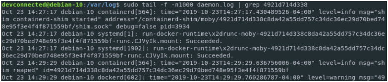 Redirecting container logs to syslog daemon-log