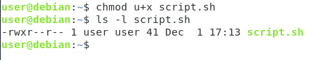 Specifying the path to the script chmod