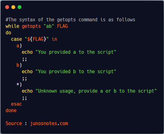 The syntax of the getopts command is as follows 1