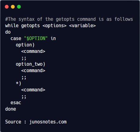 The syntax of the getopts command is as follows