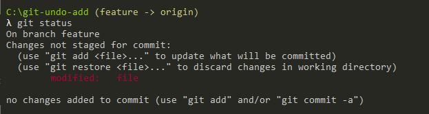 Undo Git Add using reset git-reset-command