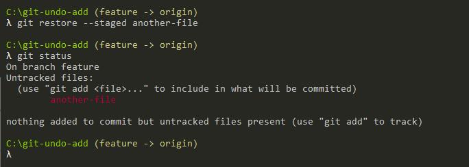 Undo Git Add using restore git-undo-add-operation