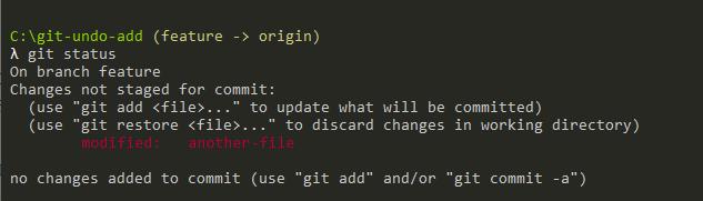 Undo Git Add using restore git-undo-working-directory