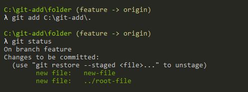 Using dot with git add git-add-absolute-path