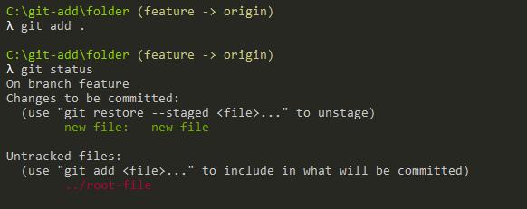 Using dot with git add git-add-dot-syntax