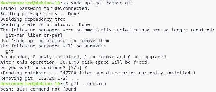 V – Uninstalling Git git-remove