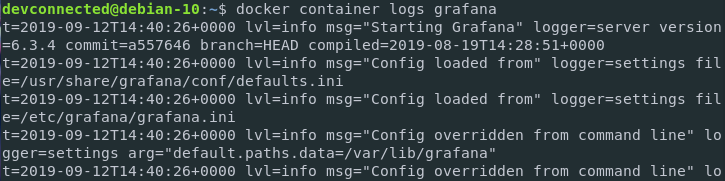 View Docker Logs using the logs option docker-logs-container