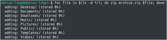 Zipping Directories using Bash for-files