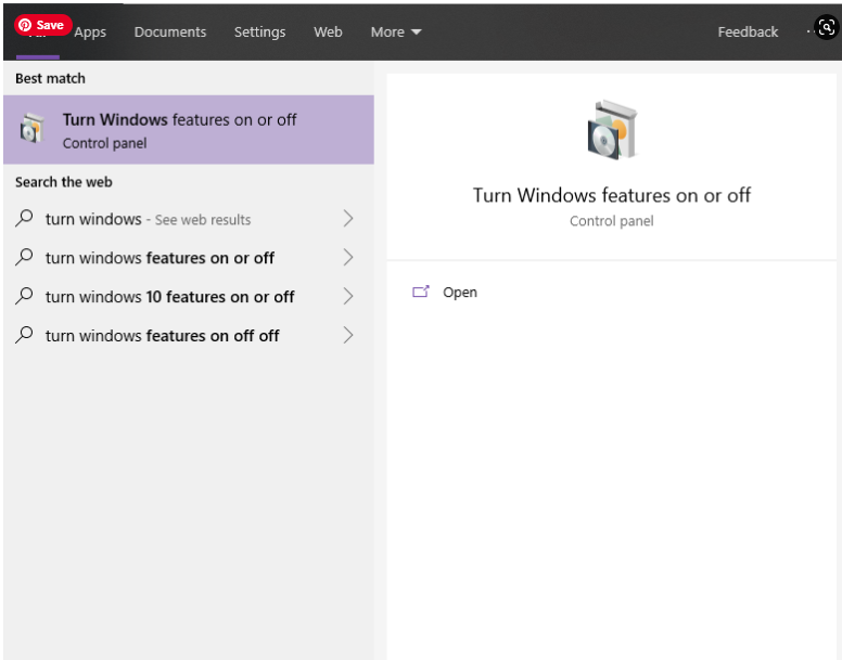 a – Check your virtualization settings turn-windows-features
