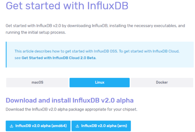 a – Download InfluxDB 2.0 archive from the website influxdb2