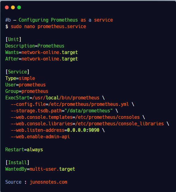 b – Configuring Prometheus as a service 1