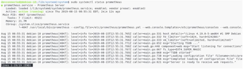 b – Configuring Prometheus as a service prometheus-start