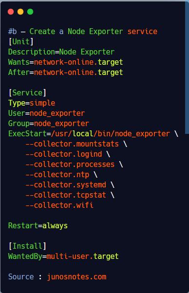b – Create a Node Exporter service