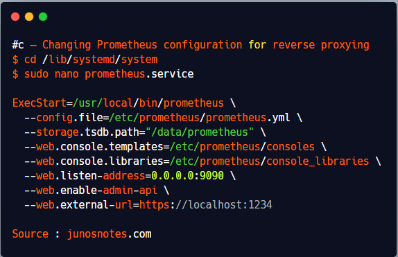 c – Changing Prometheus configuration for reverse proxying