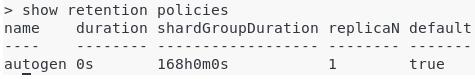 c – Create your InfluxDB database autogen