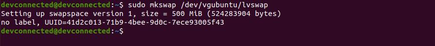 c – Enabling your swap partition mkswap