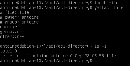 Creating access control lists defaults on directories default-1-1