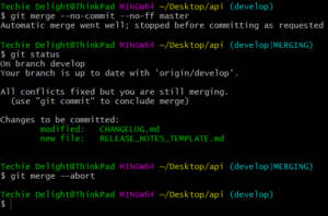 git merge command for comparing two git branches