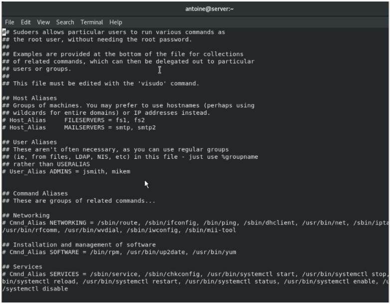 Adding an existing user to the sudoers file visudo